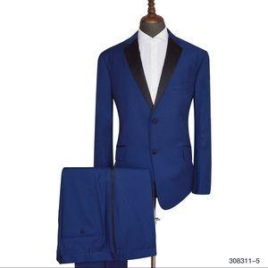 Men's Blue Black lapel 2 Piece Tuxedo